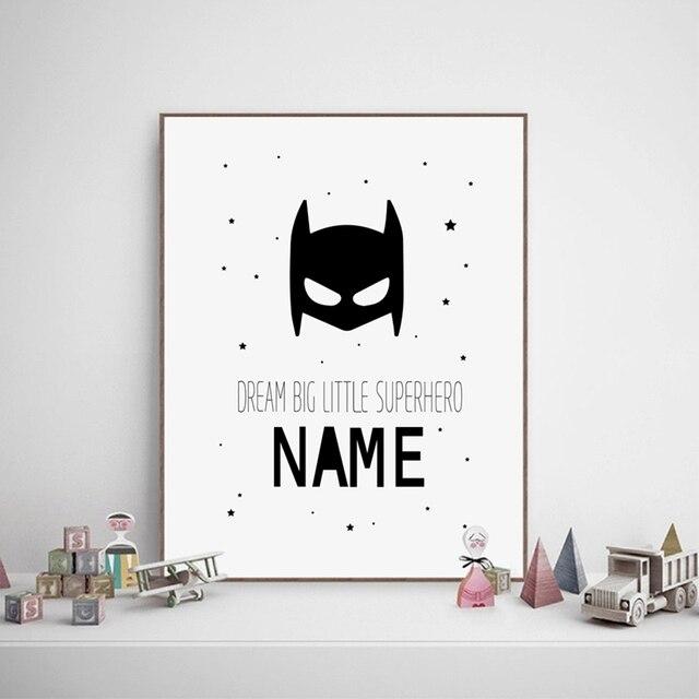 Jungenzimmer Baby personalisierte superhero name jungen leinwand kunstdruck und poster