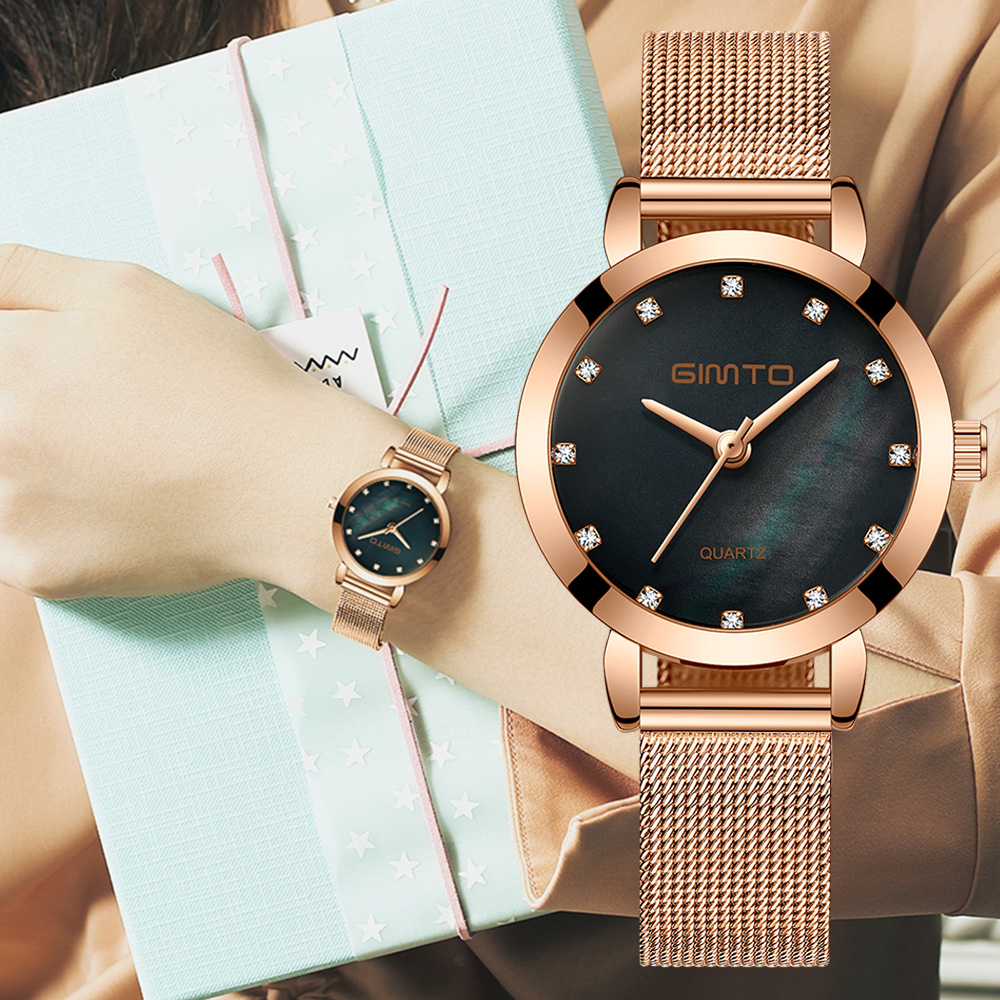 2018 GIMTO Women Watches Top Brand Luxury Bracelet Quartz Ladies Watch Gold Steel Dress Female Wristwatch Clock relogio feminino 2017 julius brand ladies women dress watches thin quartz watch steel mesh band luxury gold bracelet wristwatch relogio feminino