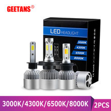 GEETANS H7 LED H4 H11 COB Headlight Bulbs 9005 9006 12V H3 H1 H8 H9 9012 72W 8000LM S2 Car Led lamp 8000K 6500K 4300k 3000K(China)