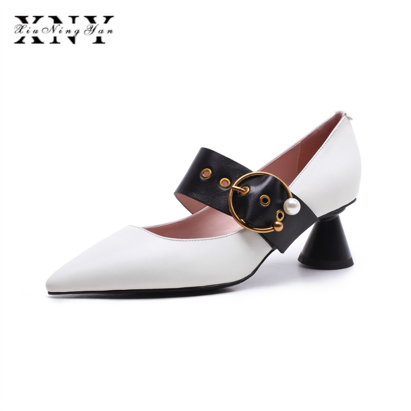 XIUNINGYAN Women Pumps 2018 Spring Summer Pointed Toe Med Heels Leather Fashion Buckle Party Wedding Shoes Woman Black White facndinll women gneuine leather pumps shoes new fashion spring summer med heels pointed toe shoes woman dress party casual shoes