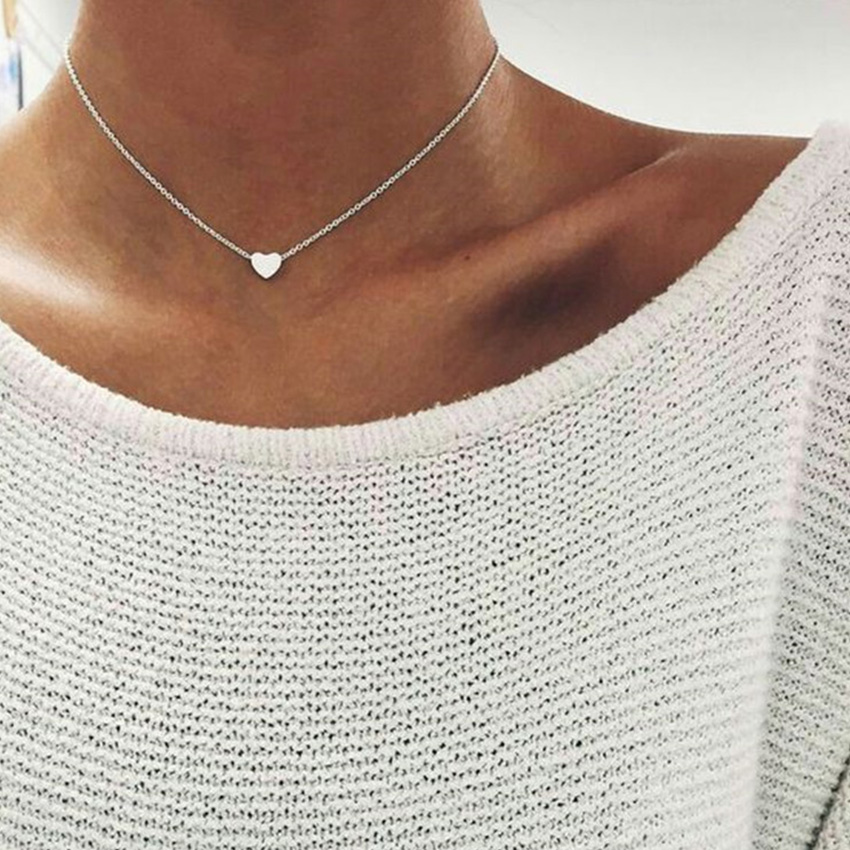2018 Love Heart Chocker Silver Chain Choker Necklace For Women Necklaces Pendants Collares Mujer Collier Femme Joyas Collana