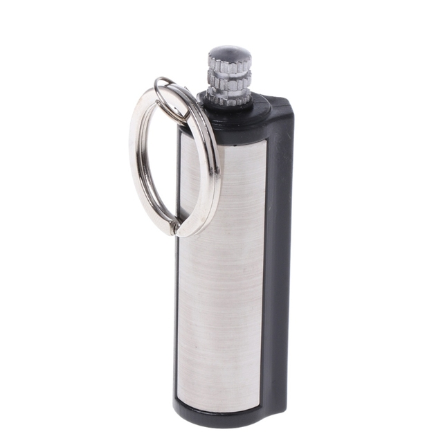 1 pc Stainless Steel Key Ring Fashion Permanent Striker Lighter Match Silver Metal Key Chain