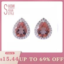 Zultanite Sterling Silver Stud Earrings Pears Shape Created Zultanite Color Change Stone for Women Fine Jewelry Party Birthday
