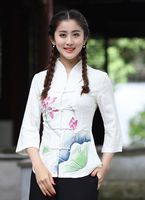 Top Selling Traditional Chinese Cotton Linen Women S Shirt Top Classic Style Blouse Mujeres Camisa Size
