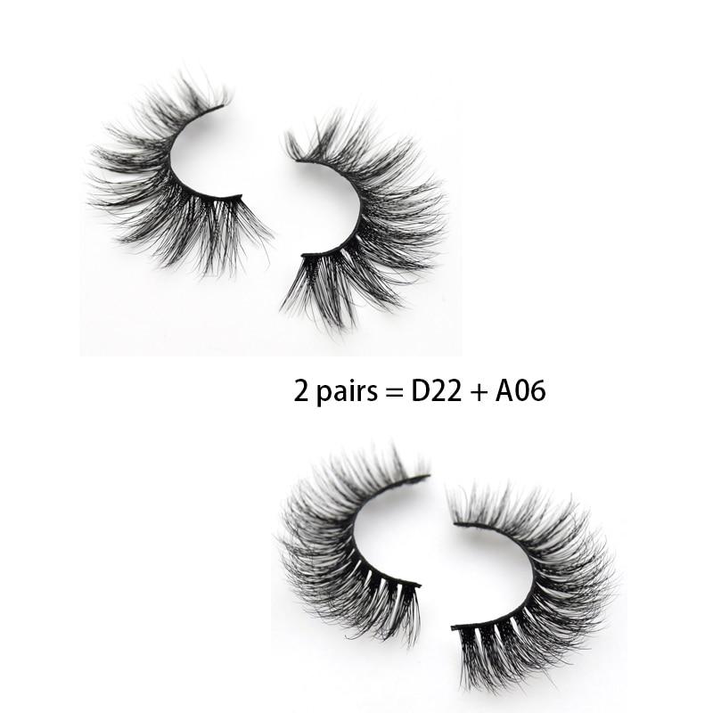 2 Pairs Eyelashes Fluttery Eyes Lashes Hand Made Mink 3D Lashes Plastic Cotton Faux Cils False Lashes Makeup Mink Eyelashes