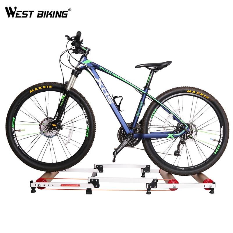 WEST BIKING Bicycle Folding Roller Biking Station Bike Training Station Alloy Cycling Parabolic Roller Trainer Exercise Tools