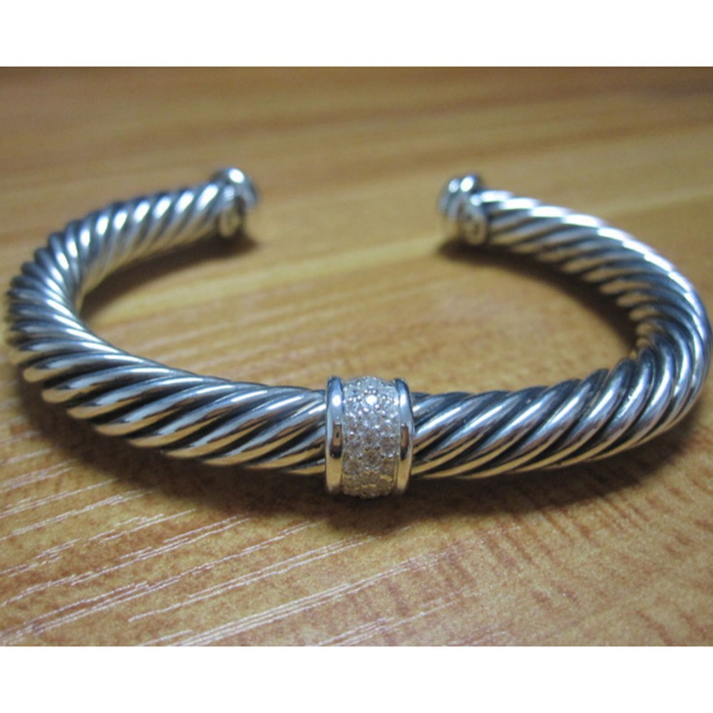 Bijoux en argent Sterling 7mm pavé de diamants Bracelet de câble Bracelet fin de mode femmes Bracelet cadeaux de saint valentin - 6