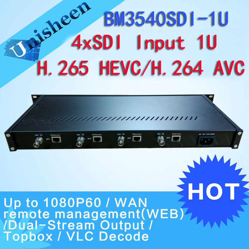 H.265 HEVC 4in1 HD-SDI 3G-SDI Video Encoder HDMI Transmitter live Broadcast encoder H264 encoder