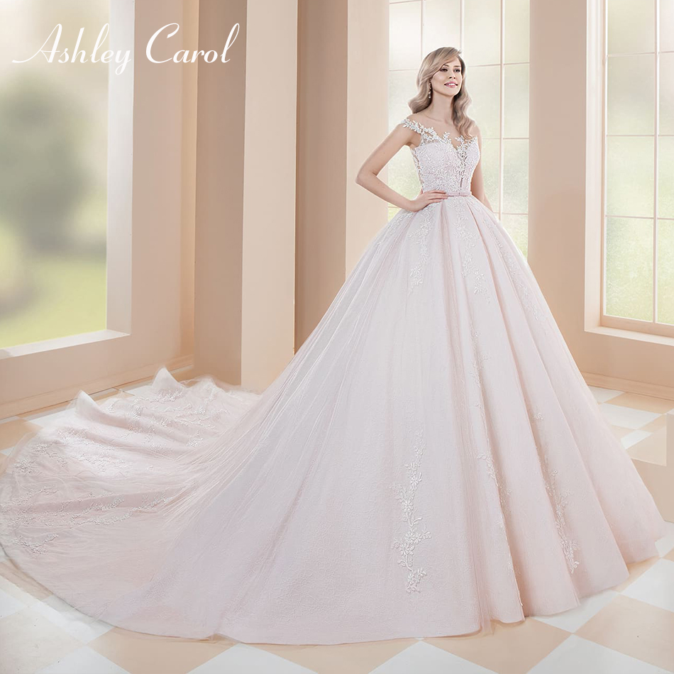 Ashley Carol Sexy Scoop Off The Shoulder Lace Ball Gown Wedding Dress 2019 Illusion Back Bow Chapel Train Princess Bridal Gown