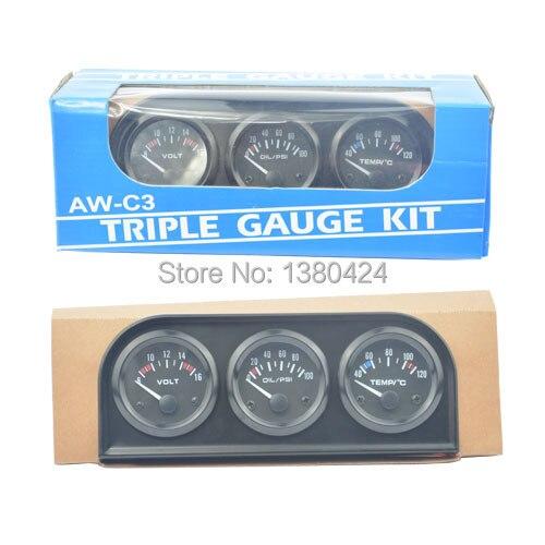 52 mm črna barva s senzorjem temperature in tlaka (merilnik vode + merilnik voltov + merilnik tlaka olja) Brezplačna dostava
