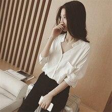 купить Summer Women's Shirt New Fashion Loose V-neck Chiffon Blouse Female Five-point Sleeve White Shirt Womens Tops and Blouses онлайн