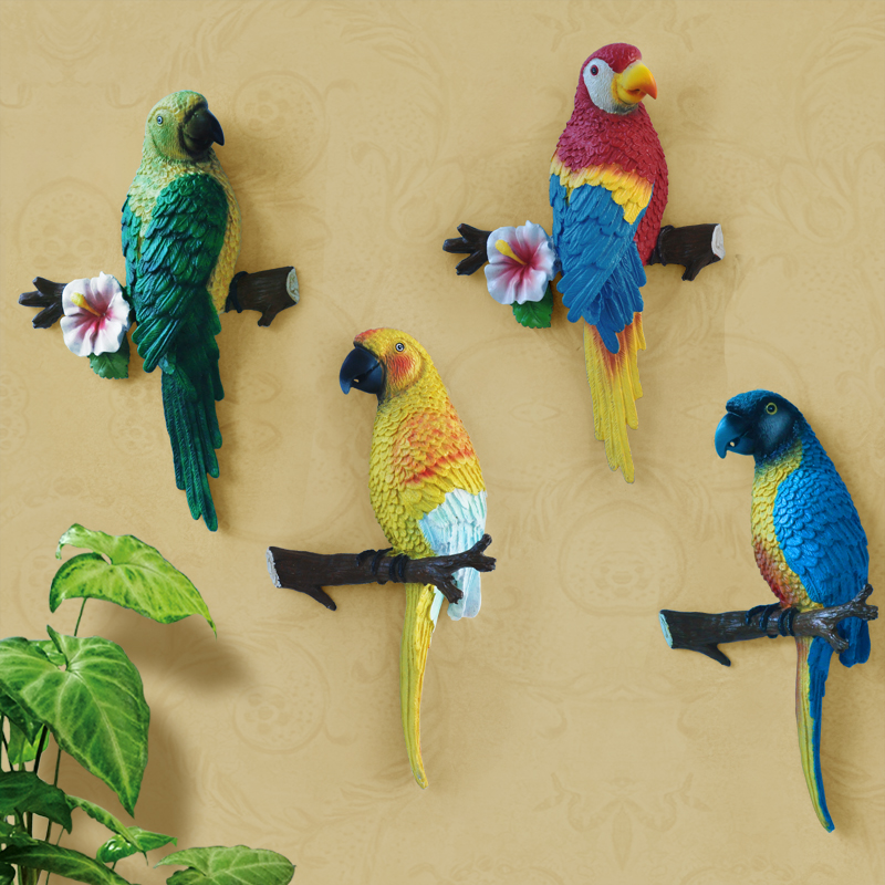 Fashion 3D rustic parrot muons hangings wall decoration resin craft ...