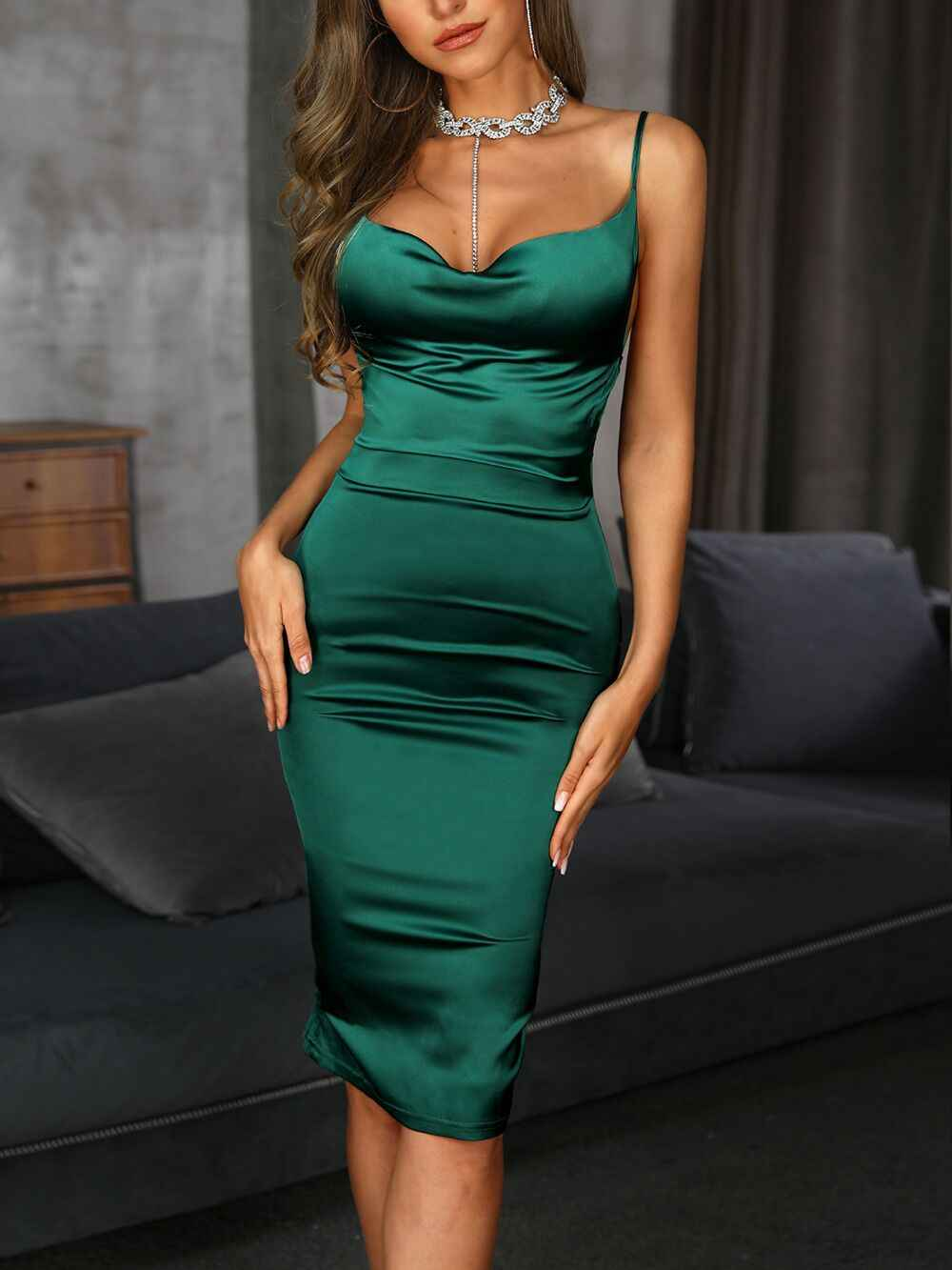 5a809a56582 2019 Summer Satin Stretch Knee-length Dresses Women Sexy Bodycon Slim  Straps Spaghetti Ruched Ladies