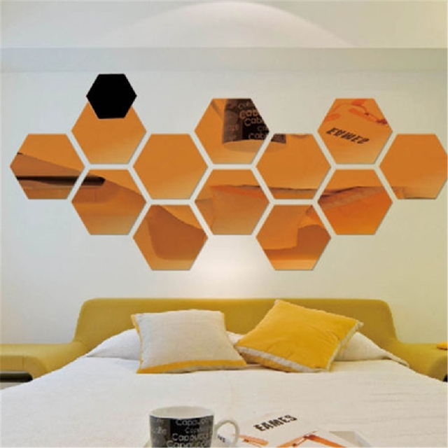 Aliexpresscom Buy 12Pcs 3D Hexagon Mirror Wall Stickers Bedroom