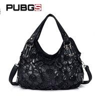 Women's Handbag Elegant Retro Female Shoulder Bag Messenger Bag Hollow Flower Large Capacity Wild Designer Brand PUBGS 2018 New