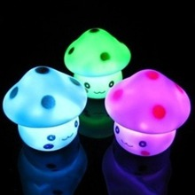 Lovely Mushroom Night Light Colorful Led Lamp With Button Cell Power For Baby Bedroom Sleep Gift