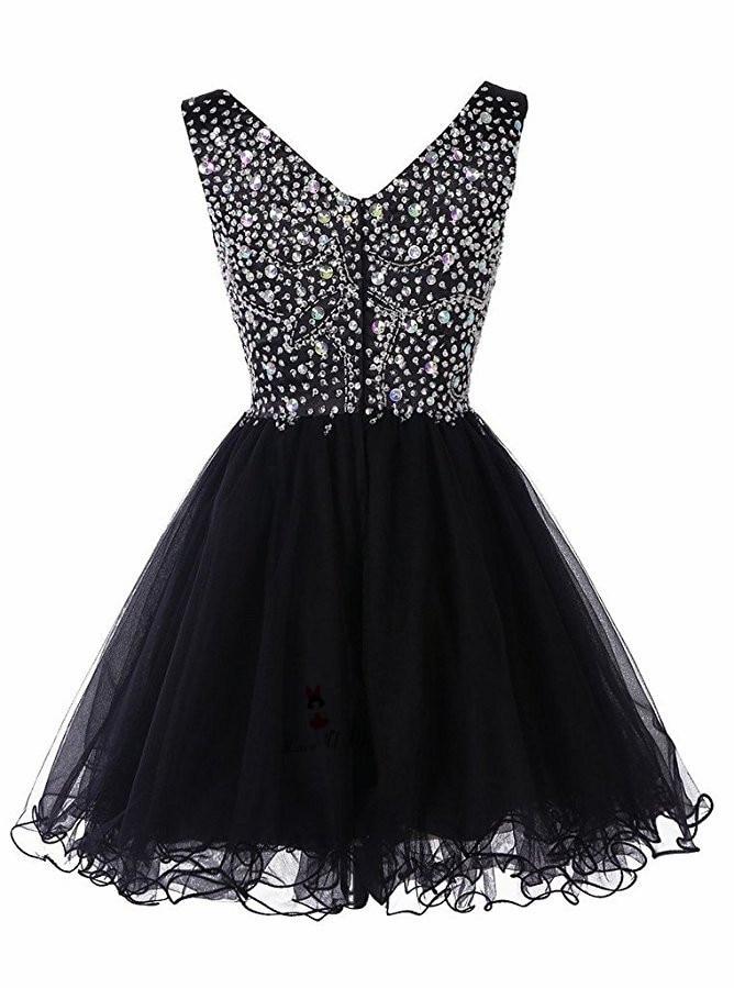 Doragrace vestidos de festa V Neck Short Tulle Prom Gown Crystal Beaded Black Cocktail Party Dresses in Cocktail Dresses from Weddings Events