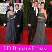 Angelina Jolie Grau Abendkleid Golden Globes 2007 Roter Teppich Elegante Trägerlose Chiffon Langer Abschlussball Formale Kleid
