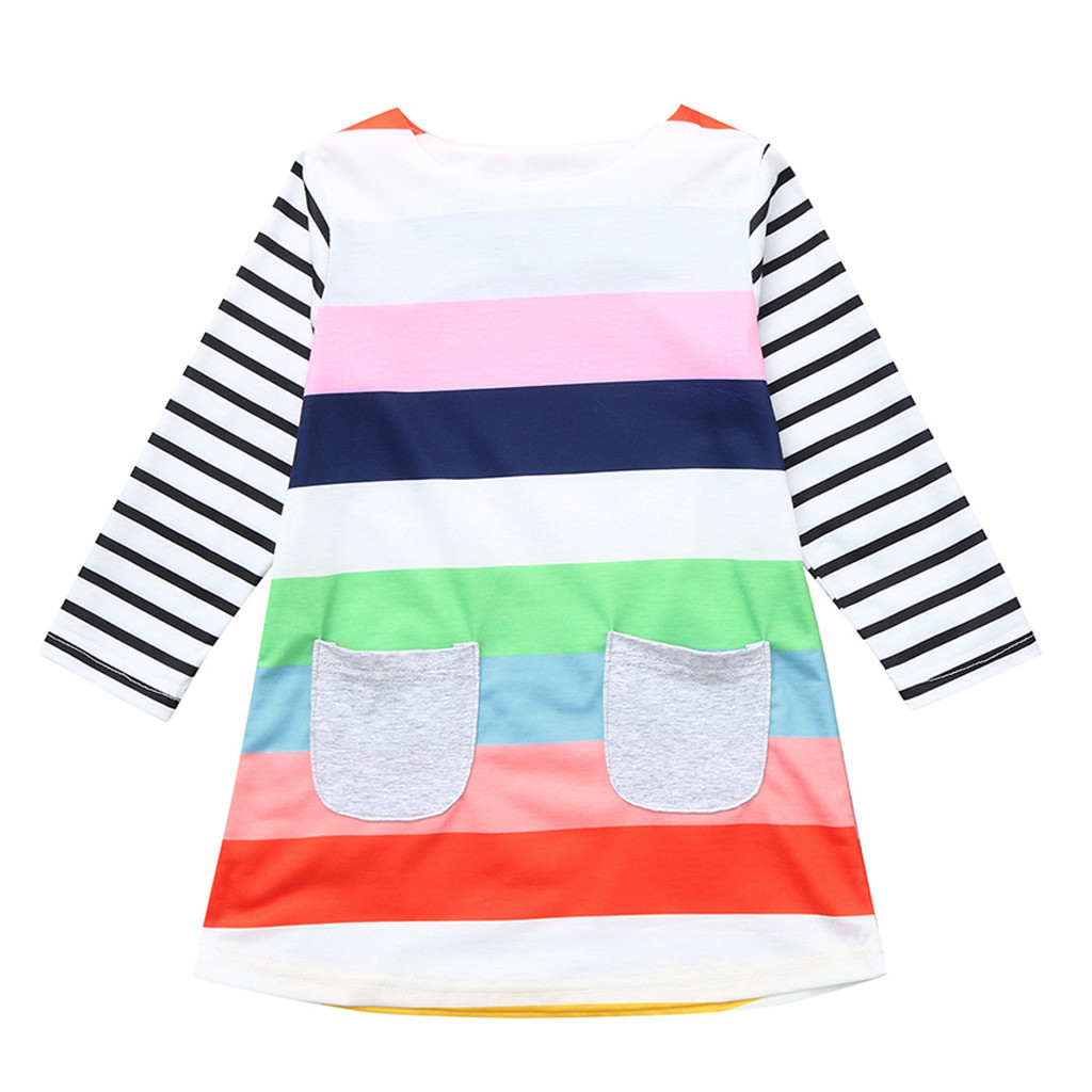 Girls Dress Fashion Brand Kids Girl Clothes With Long Sleeve Striped Pocket New Design Summer Children Clothing Princess Dresses