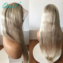 Ash Blonde Ombre 4/60 Human Hair Full Lace Wig Small Cap Size Straight Wigs Brazilian Remy Hair Ponytail Bun 150% Density Qearl