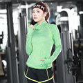 Slim Fitness Casual Jacket Women Sweatshirts Quick Dry Tracksuits Thumb Hole Tights Long Sleeve High Collar Fit Tee Shirts 074