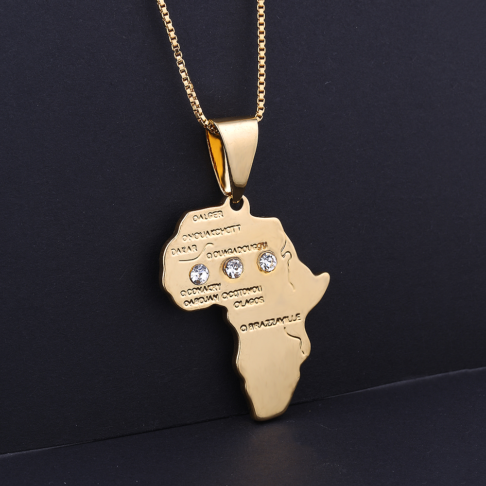 Classic Gold Color Africa Map Pendant Necklace Male Vintage Copper Jewelry Rhinestone Hip Hop Long Chain Necklace For Men chic style rhinestone crescent decorated cuboid shape pendant necklace for men