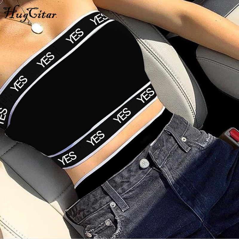 Hugcitar letters print patchwork sexy   tank     tops   2019 summer women fashion club streetwear female crop   tops