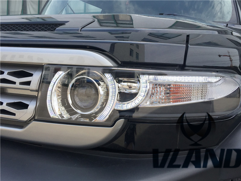 Free shipping for Vland Car Head Lamp for Toyota FJ Crusier LED Headlight+Middle Grill HID Xenon Lens fit Year Model 2007-2015 free shipping for vland car head lamp for hyundai elantra led headlight hid h7 xenon headlamp plug and play for 2011 2013