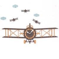 Large Living Room Wall Clock Aircraft Modern European Children's Cartoon Wooden Wall Clock Home Decor Christmas Gift 105*62*22