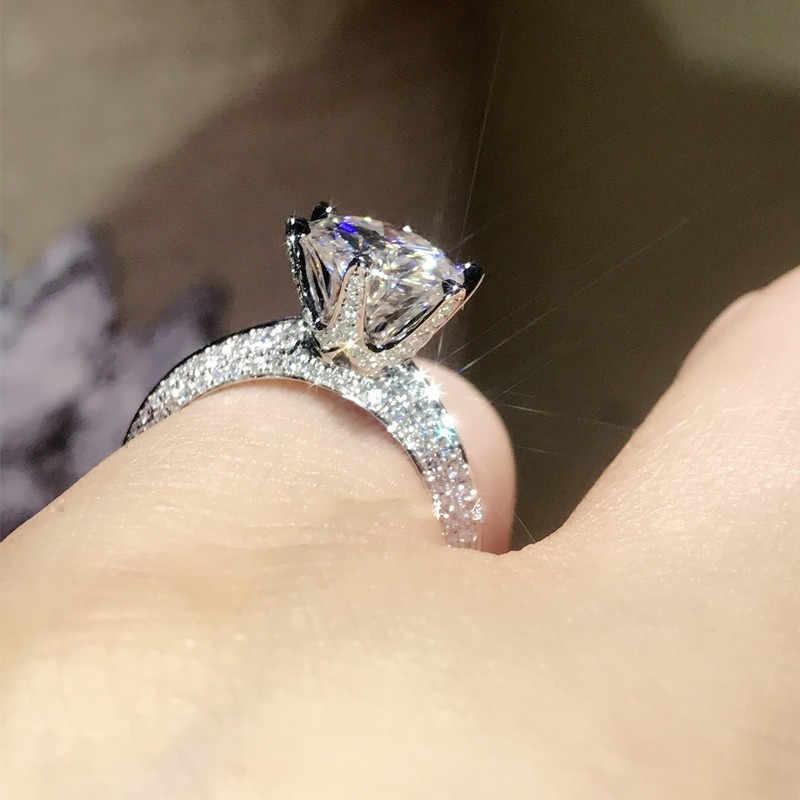 Klassieke Vrouwelijke 100% Soild 925 Sterling Zilveren ring 1ct Sona 5A zircon Stone Engagement Wedding Band Ring voor vrouwen mannen sieraden
