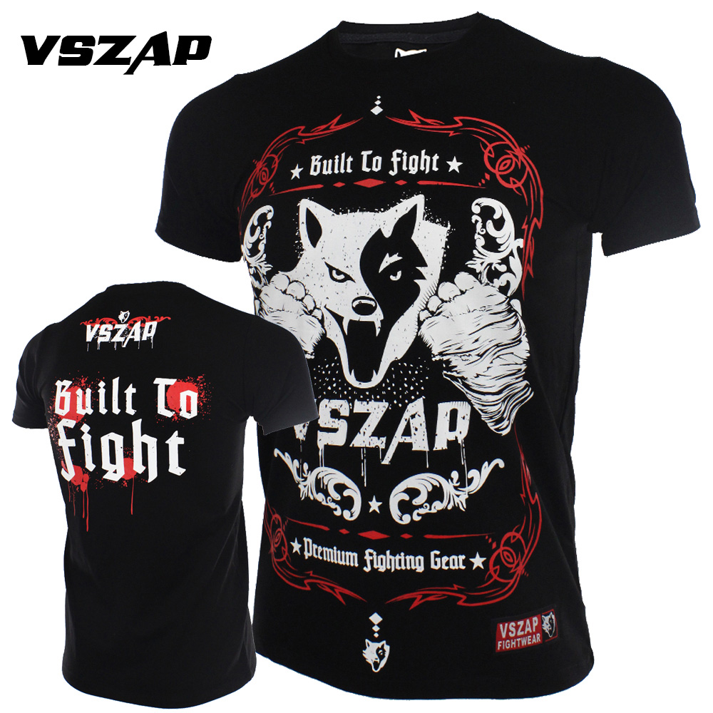 VSZAP Jerseys Fight MMA T-Shirt Gym Tee Boxing Fitness Sport Muay Thai Cotton Men
