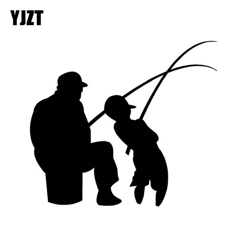 YJZT 14.2cm*16cm MAN AND BOY FISHING Fun Vinyl High-quality Decor Decals Car Sticker Black Silver C11-0182