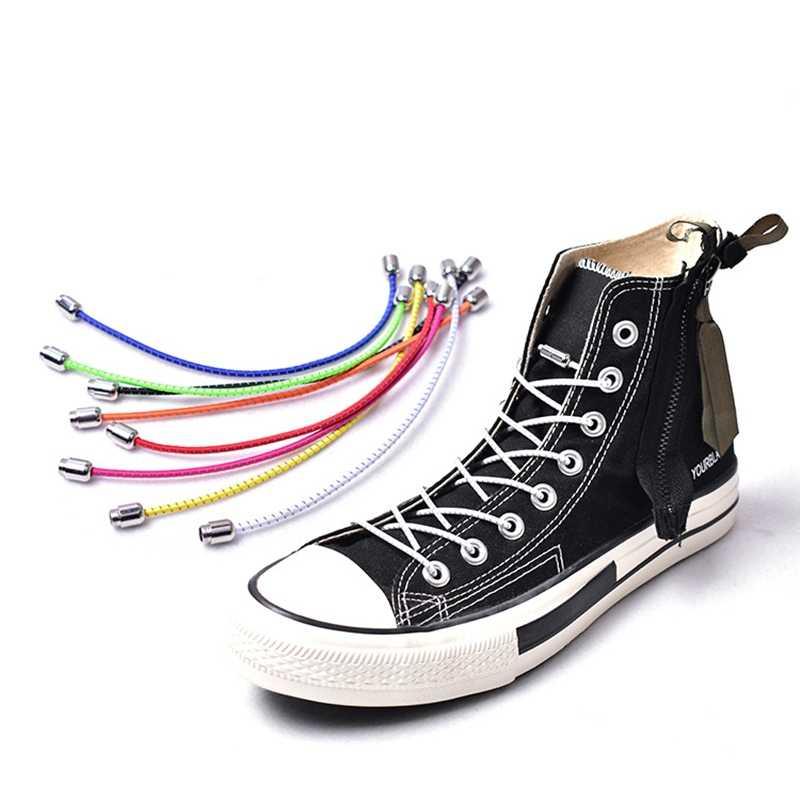 ไม่มี Tie Shoelaces รอบล็อค laces ยืดหยุ่นเด็กผู้ใหญ่รองเท้าผ้าใบเชือกผูกรองเท้าขี้เกียจยางรองเท้าลูกไม้