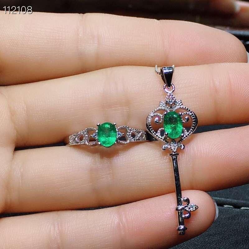Mooie Uitholling Key crown S925 zilver natuurlijke groene smaragd edelsteen ring Hanger natuurlijke edelsteen sieraden set vrouw party gift - 5