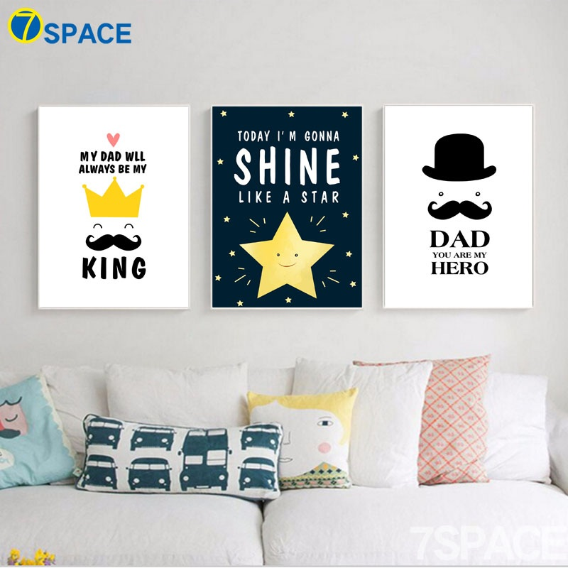Hot Sale Star Crown Beard Quotes Wall Art Canvas Painting Nordic Interesting Cartoon Home Quotes