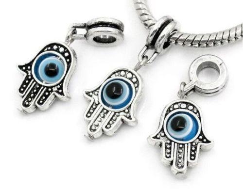 20Pcs Tibetan Silver Hand  EYE Charms Dangle Beads Fit pendant Bracelet 32x13mm