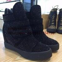 White Black Full Crystals Height Increasing Wedge Booties Hook Loop Buckle Boots Winter Shoes Women S
