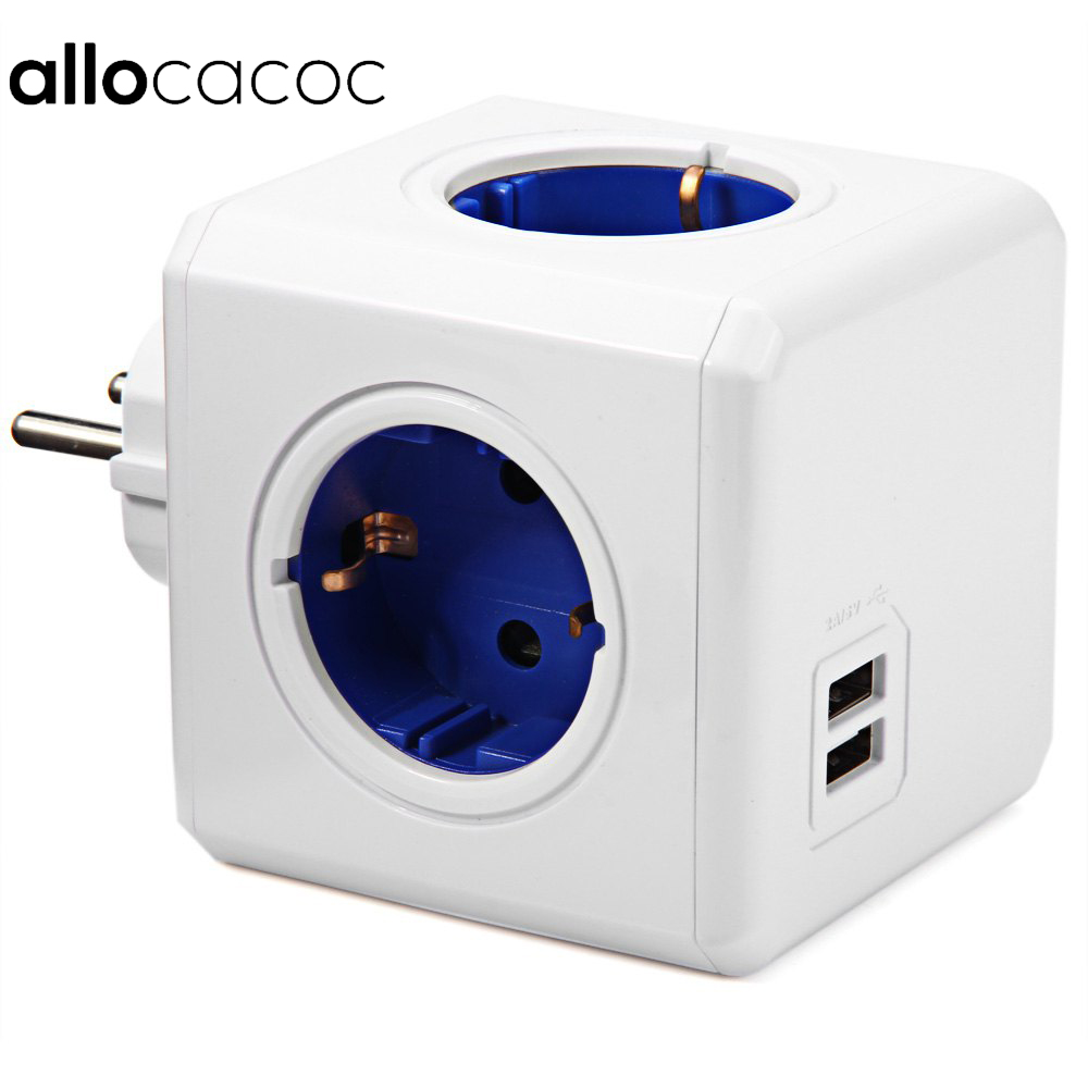 Allocacoc Smart Home PowerCube Buchse EU Stecker 4 Outlets 2 USB Ports Adapter Power Strip Erweiterung Adapter Multi Switched Sockel