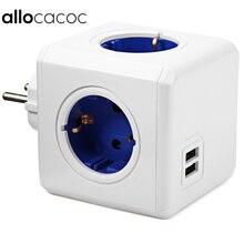 Allocacoc casa inteligente powercube soquete plugue da ue 4 tomadas 2 portas usb adaptador de extensão tira energia multi comutado soquete