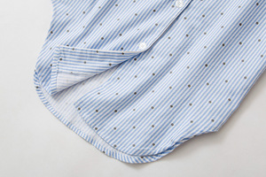 Image 5 - Autumn Stripe Polka Dot Sexy Women Sleepshirts 100% Brushed Cotton Fresh Simple Nightgowns Women Sleepwear Nightdress Nightwear