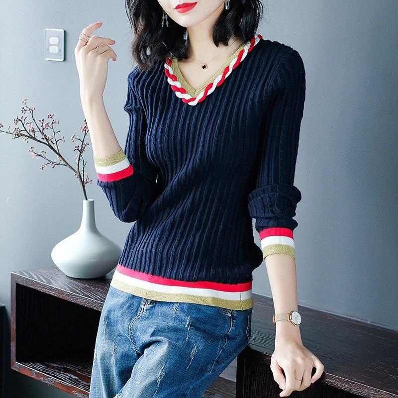 V neck long sleeve pullovers elastic knit shirts 2018 new women autumn basic sweater
