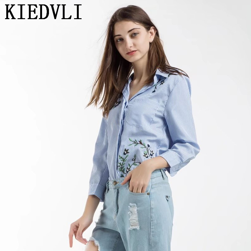 Vadim Loose Crane Embroidery Striped Shirts Bird Pattern Oversized Turn  Down Collar Female Blouses Casual Tops Blusas 9734-in Blouses   Shirts from  Women s ... 608887171fb6