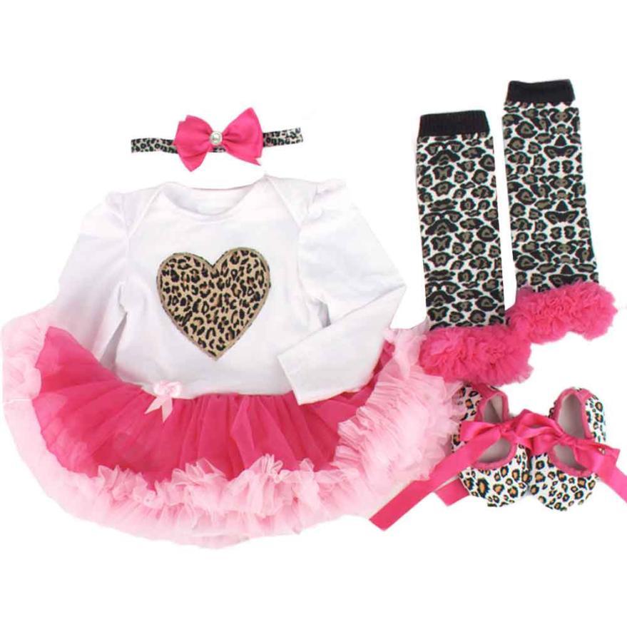 New Arrivals Newborn Long sleeve Baby Bodysuit kids clothes Tutu Dress Sets 4Pcs Outfits Clothes Bodysuit