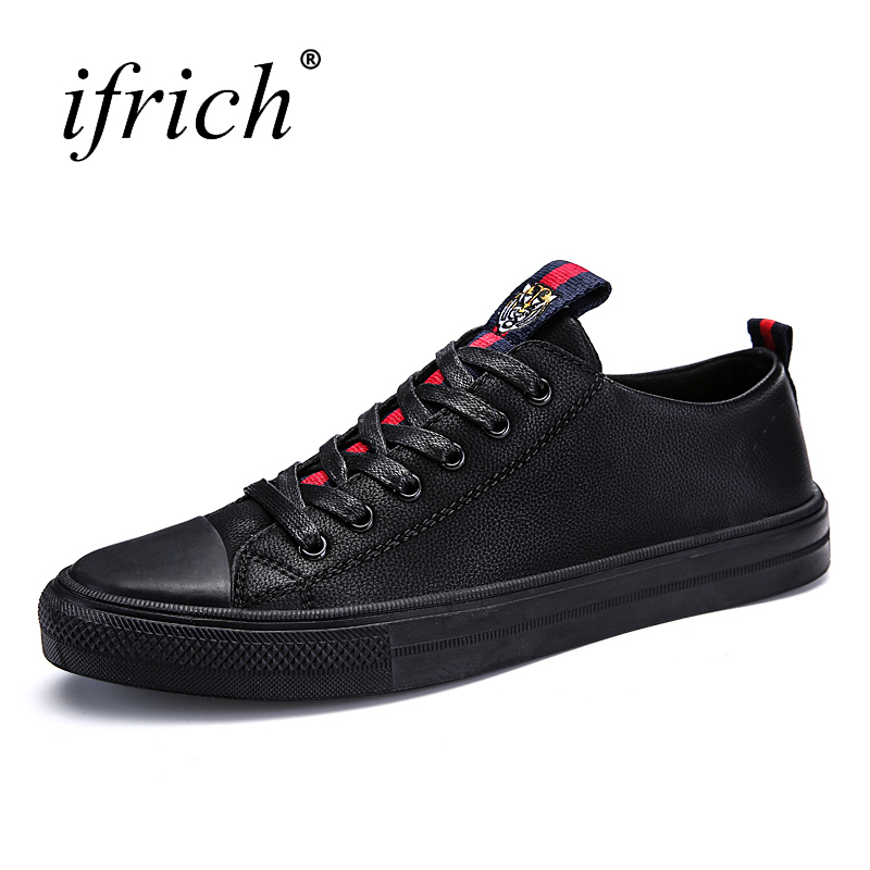 Ifrich Mens Fashion Luxury Shoes Lace Up Male Flat Sneakers Split Leather Shoes Comfortable Man Casual Footwear Black