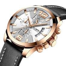 CUENA Quartz Watches Men Luxury Brand Stopwatch Luminous Hands Genuine Leather Strap 30M Waterproof Clock Man Fashion Watch 2018 все цены