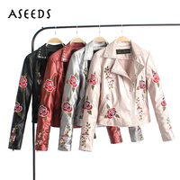 Winter Coat Ladies PU Faux Black Leather Jackets Women Flower Embroidery Silver Pink Red Rivet Aviator