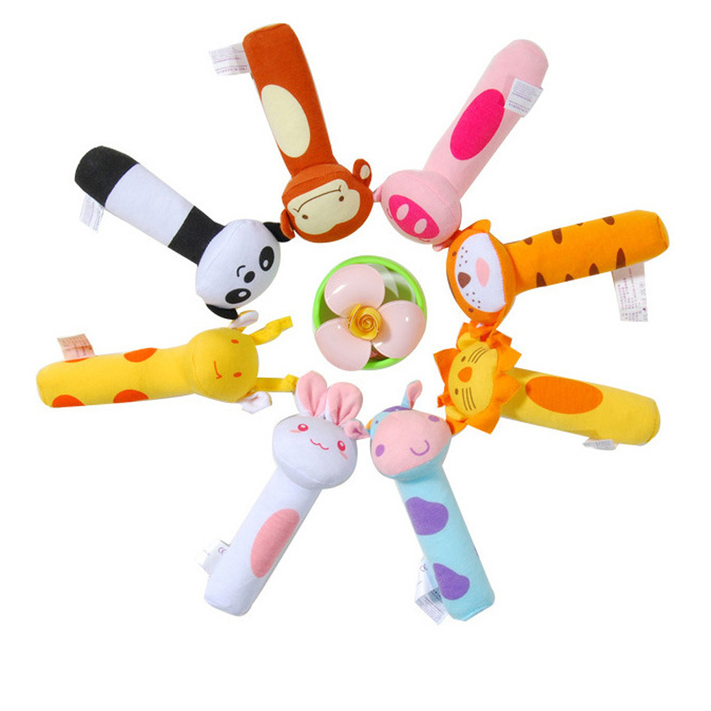 1Pc Rattles Cartoon Animal Plush font b Toy b font BB Stick Rattle Baby font b