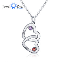 Personalised Pendants Necklaces Birthstone Merging Couple Hearts 925 Sterling Silver Necklaces & Pendants (JewelOra NE101325)