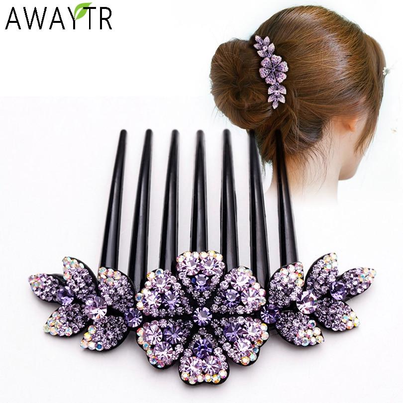 AWAYTR Crystal Rhinestones Flower Hair Combs Clip Vintage Hairpins Bridal Wedding Headdress Women Hair Accessories Disk Headwear