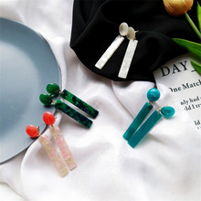 2018 Acetic Acid Long Earrings Individuality Retro Green And Colorful Round 1 Word Earrings Tide Jewelry